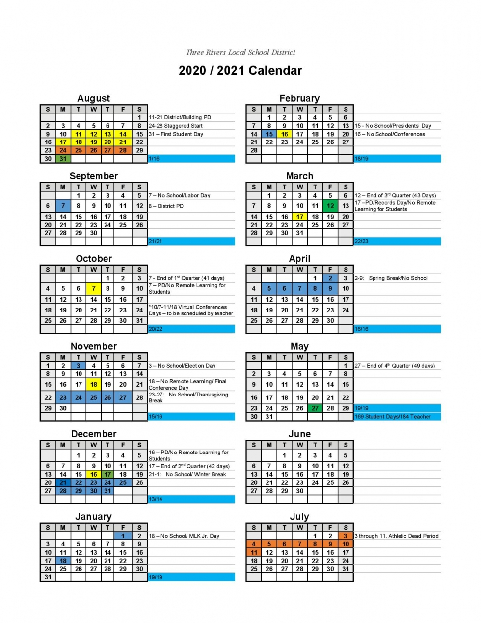 Three Rivers Local School District   calendars