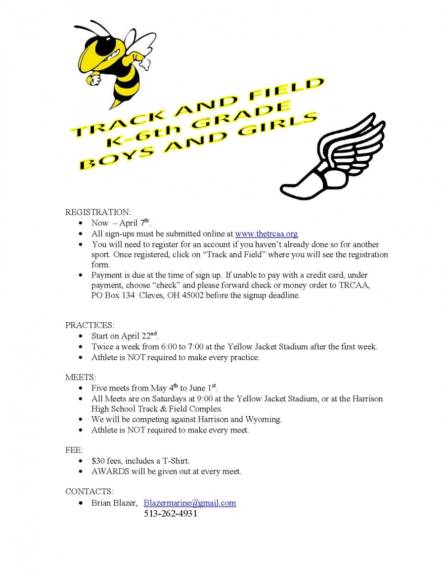 Track and Field Registration for grades K-6