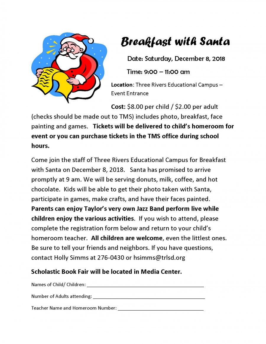 Breakfast with Santa 2018 flyer