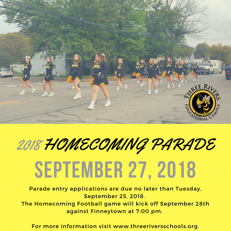 Homecoming Parade September 27, 2018 announcement.