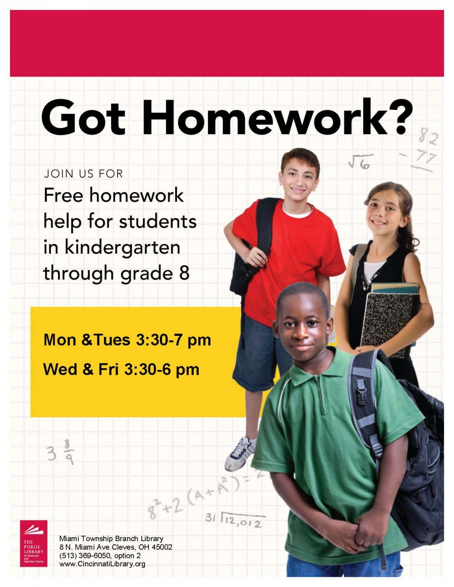 flyer for free homework help from the Miami Township Library.