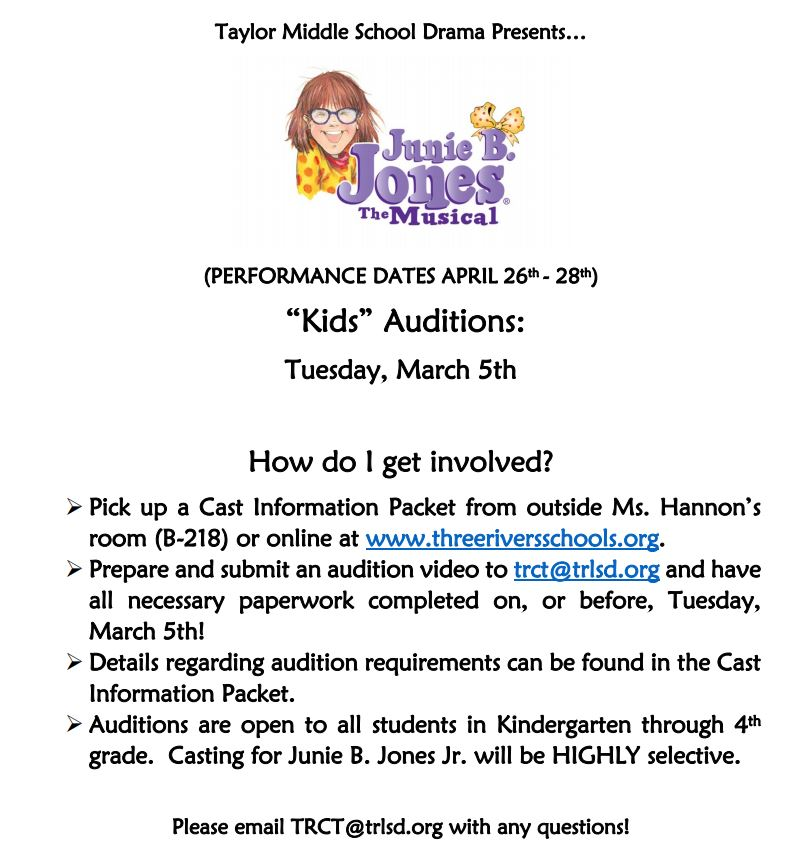 Junie B. Jones Auditions for grades K-4