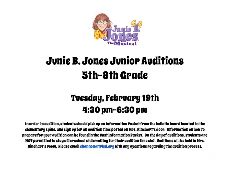 Junie B. Jones auditions for elementary and middle school students