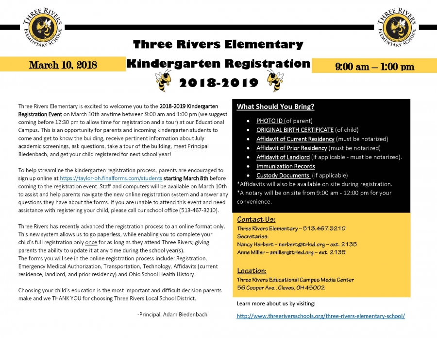 Kindergarten Registration Flyer for March 10, 2018
