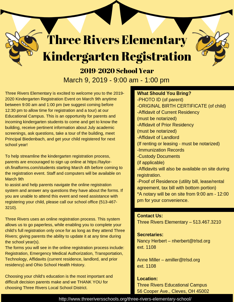 2019-2020 Kindergarten Registration is scheduled for