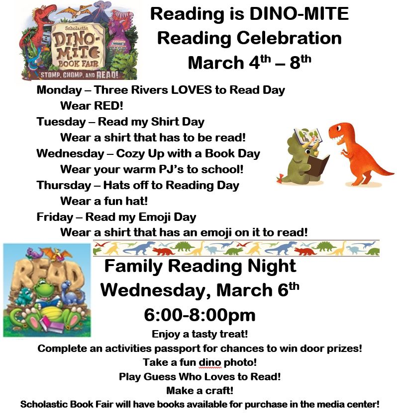 Three Rivers Elementary Family Reading Night and Spirit Week