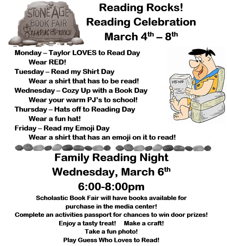 Taylor Middle School Family Reading Night and Spirit Week