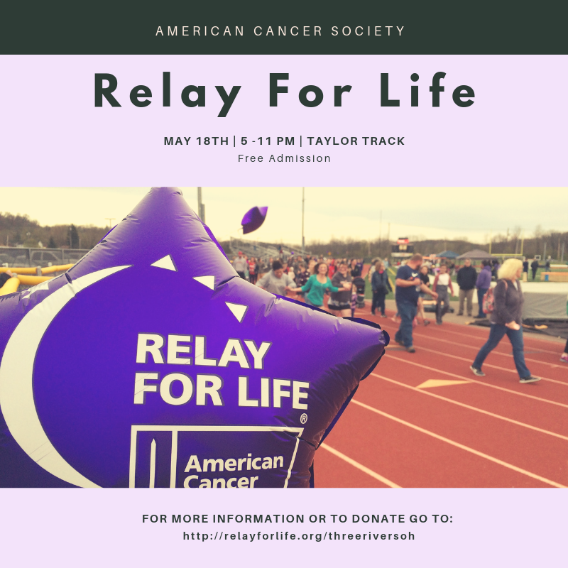 Relay for Life 2019 flyer May 18th from 5:00 - 11:00 pm