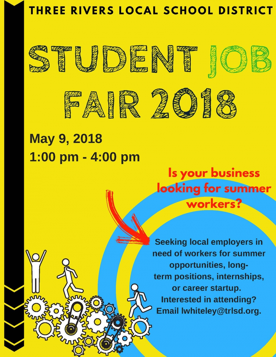 student job fair flyer for may 9, 2018
