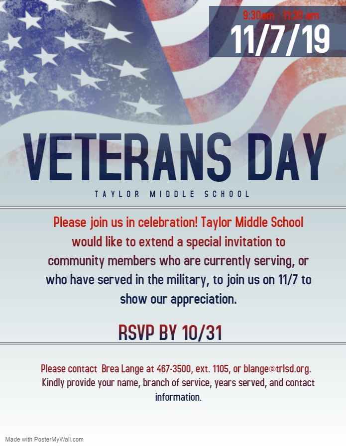 November 7, 2019 annual Veterans Day Ceremony