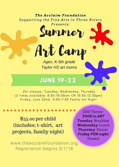 summer art camp information