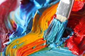 paintbrush painting mixed colors