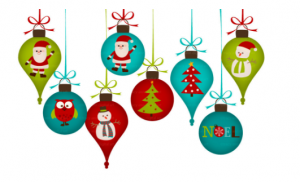 ornaments with holiday decorations