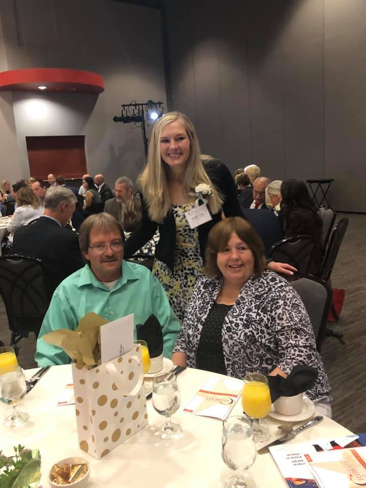 Mrs. Stenger with parents at Celebrate Excellence breakfast.