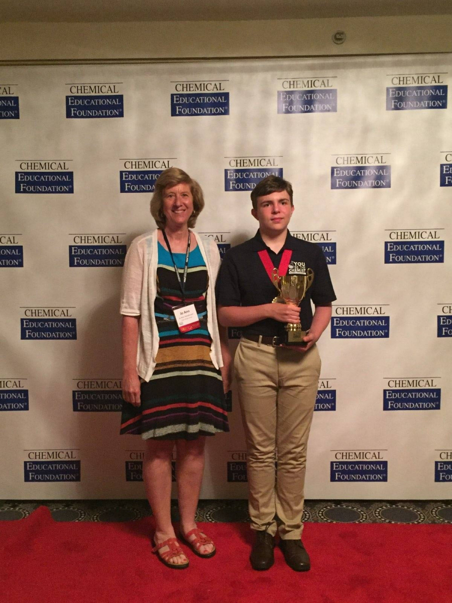Lee Garber-Ford with teacher, Jo Henderson, in Washington, D.C. after winning third place at the You Be the Chemist National Competition.
