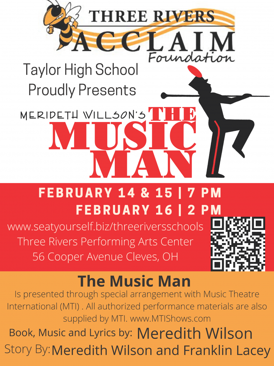 Taylor High School proudly presents The Music Man - February 14, 15, and 16.