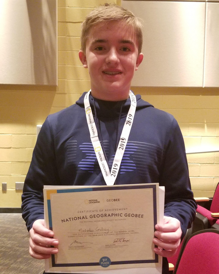 Nick Cordrey the 2019 Geography Bee Winner at Taylor Middle School