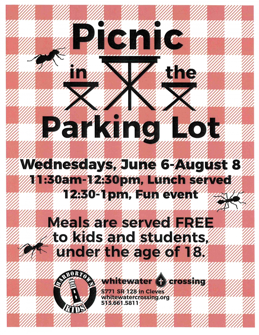 Picnic in the Parking Lot flyer for free meals at Whitewater Crossing for any students under the age of 18.