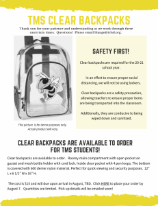 clear backpacks will be required for students in grades 5-12