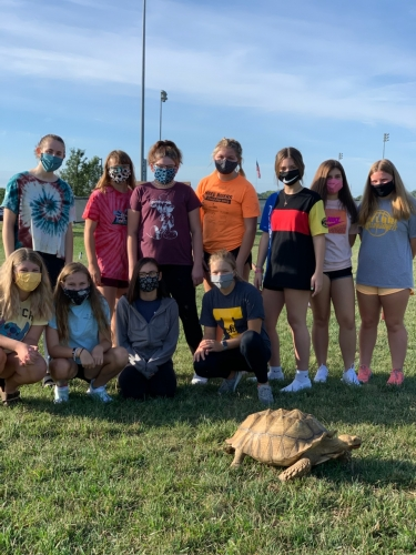 Mr. Knarr's class and the tortoise.
